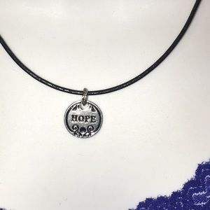 HOPE pendant on leather cord NWT